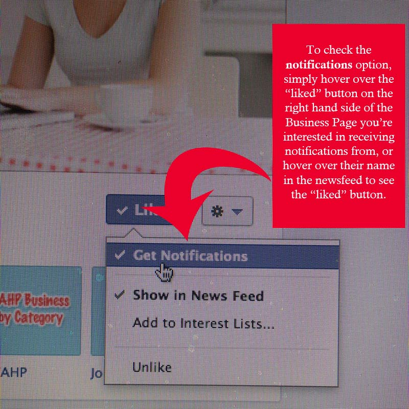 new Facebook Business Page notifications