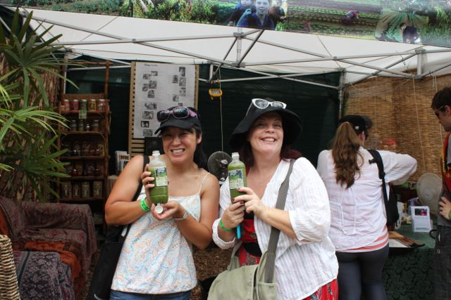 drinking green smoothies at the festival