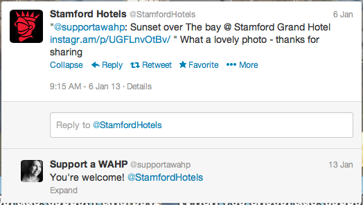 Great marketing is in how you respond. Stamford hotel responds to tweet fed through from Instagram